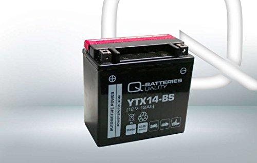Q-Batteries Motorrad-Batterie YTX14-BS AGM 51214 12V 12Ah 200A