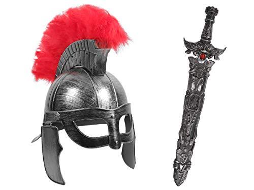 Alsino Gladiatoren Krieger Kostüm (Kv-154) - mit Römer Helm, Silber und Ritterschwert, 56 cm lang