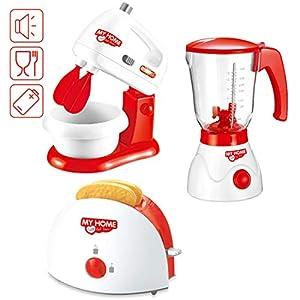 deAO Conjunto de Utensilios Electrodomésticos de Cocina Infantil Accesorios para Cocina de Juguete Incluye Tostadora, Batidora, Licuadora