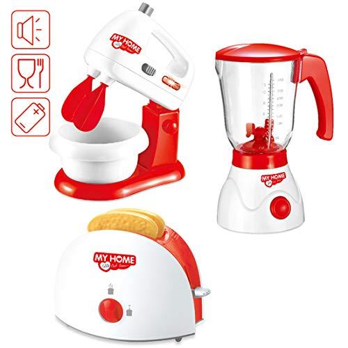 deAO ausgewählte Spielzeugküchengeräte mit einem Handmixer, einem Mixgerät , einem Toaster und Artikeln von Speilzeugessen