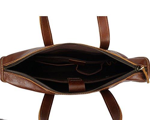 HUANGLINGLING Bag Men's Leather Tote Briefcase Leather Casual Laptop Bag Retro Messenger Bag commuter bags (Color : Brown, Size : M)