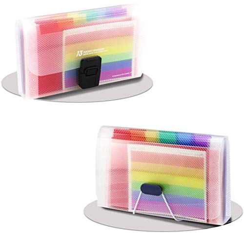 Newbested 2 Pack 13 Pockets Rainbow Accordion File Organizer, A6 Plastic Wallet Handle Mini Expanding High Capacity Document Expandable Portable Folder Business Office Holder for Cards, Receipt, Tax I