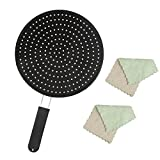 Silicone Splatter Screen for Frying Pan, 11 inch Multi-Use Splatter Guard, Non-Stick and Food Safe, High Heat Resistant Oil Splash Guard, Cooling Mat, Drain Board, and Strainer (Black)