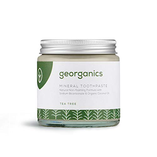 Georganics - Natürliche Zahnpasta mit Mineralien und Aufhellendem Effekt - Nicht-Schäumende Formel mit Nativem Bio-Kokosöl - Vegan, ohne SLS, Tierversuche und Fluorid -Teebaumöl - 120ml
