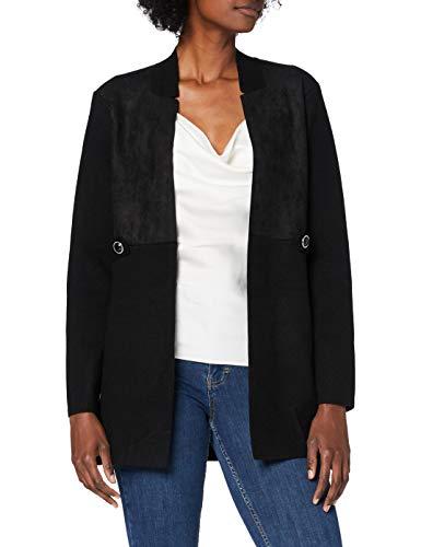 Morgan Veste Longue Bimatière Tricot Martine Chaleco suéter, Noir, TS para Mujer