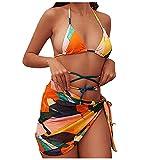 Mujeres Bañadores de Estampado/Color Liso de Vendaje Bikinis con Relleno Retirable de Tres Piezas Traje de Baño con Falda Cortos Gasa Ropa de Baño Cuello Halter Sexy Bikini Mar y Playa