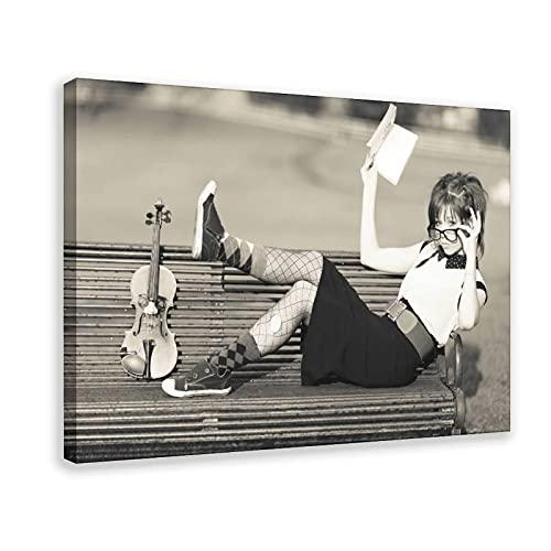 Geigen-Poster Lindsey Stirling, 5 Leinwand-Poster, Wandkunst, Dekordruck, Gemälde für Wohnzimmer, Schlafzimmer, Dekoration, 60 x 90 cm, Rahmen: