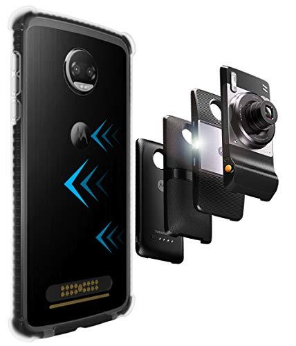 CaseWe - Motorola Moto Z2 Force Hülle Bumper Case Schutzhülle / Kompatibel mit allen Moto Mods - Klar Matt Schwarz