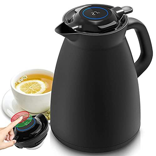 Yuanj Thermoskanne 1,5L Kaffeekanne mit Temperaturanzeige, Isolierkanne Edelstahl 304 / Vakuum Kaffeekanne / Teekanne