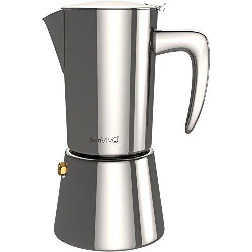 bonVIVO Intenca Espressokocher Induktion geeignet - Edelstahl Kaffeekocher in Silber-Optik m. Wasserkessel, Sieb – Mokkakanne 2, 4, 6 Tassen, 100-300ml