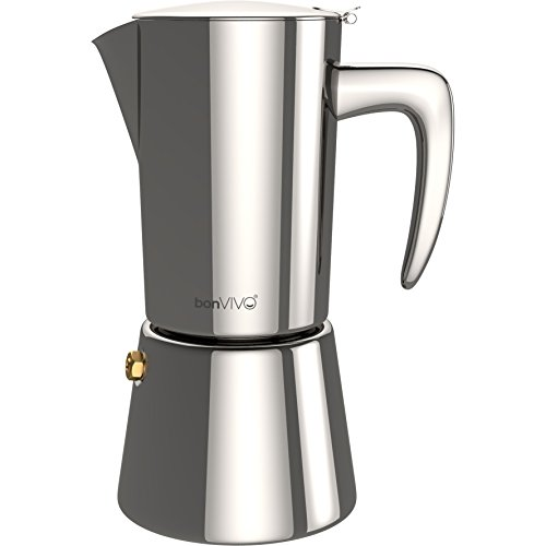 bonVIVO Intenca Espresso Maker, Stove Top Coffee Maker - Moka Pot Induction Made of Stainless Steel with Silver Chrome Finish - Italian Coffee Maker for 6 Cups of Espresso