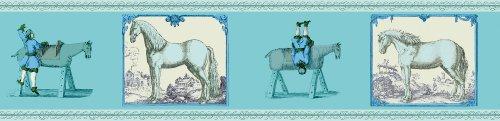3er Set GMM Pferde Bordüre, Tapetenborte - Reiter Tapeten Borte mit Voltigier Übungen in türkis blau, 3x5m, ideal zum Einzug, Umzug, Renovierung um Zimmer, Küche, Gänge, WC aufzupeppen