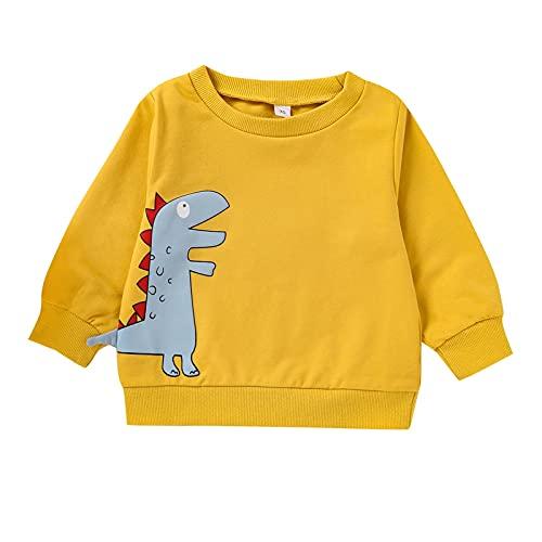 Sudadera de Navidad para niños, unisex, para bebés, niñas, niños y niñas, algodón, diseño de dinosaurio, de manga larga, de 0 meses-4 años, amarillo, 0-6 Meses