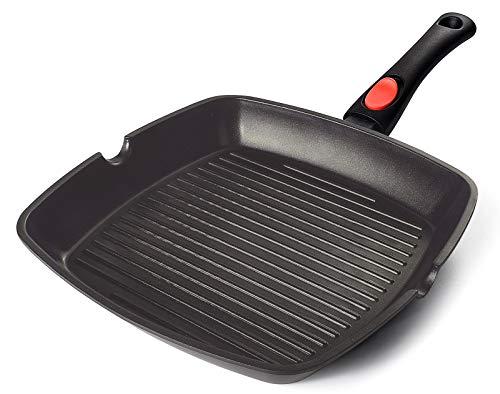 AIGLEFEU 28x28 cm Grillpfanne Induktion mit Ausguss und Abnehmbarem Griff, PFOA-freie Antihaft Aluminiumguss Steakpfanne,kann auf Einer Induktionsbasis von weniger als Ø 16,2 cm verwendet Werden