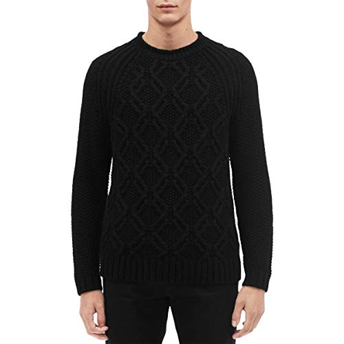 Calvin Klein Mens Cable Knit Sweater, Black, Large