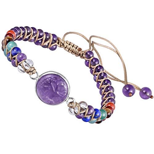 KYEYGWO 7 Chakras Healing Crystal Stone Beads Bracelet for Women and Men, Tree of Life Charms Adjustable Bangle for Prayer Balancing Yoga Meditation