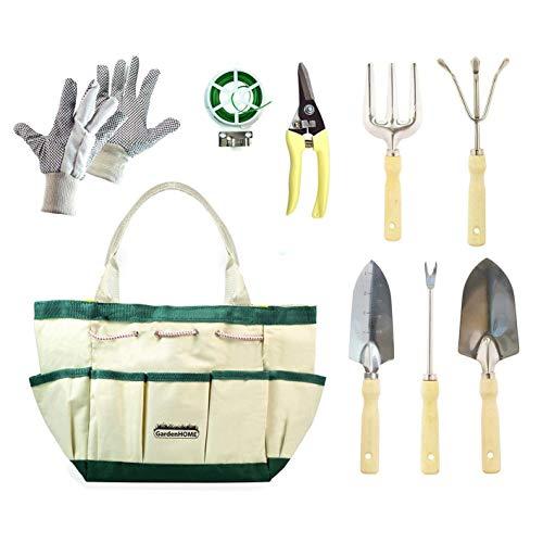 GardenHOME Outils de Jardinage 9 Pièces Outils de Jardin avec Sac de Rangement, Gants de Jardinage