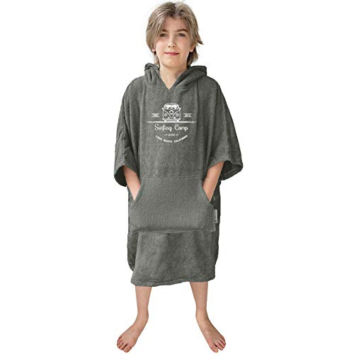 HOMELEVEL Kinder Frottee Surfponcho mit Kapuze und Stickerei 100% Baumwolle Strandponcho Poncho Badeponcho Anthrazit 6-9 Jahre