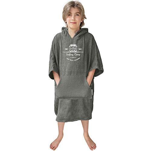 HOMELEVEL Kinder Frottee Surfponcho mit Kapuze und Stickerei 100% Baumwolle Strandponcho Poncho Badeponcho Anthrazit 10-13 Jahre