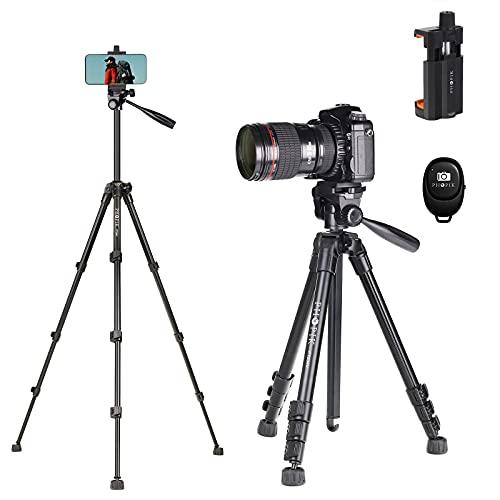 PHOPIK 142,2 cm Stativ aus Aluminiumlegierung, Videostativ, geeignet für Handys & digitale Spiegelreflexkameras, mit Handyhalterung & Schnellwechselplatte (schwarz), 360° Panorama-Aufnahmen