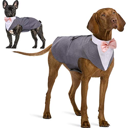 IDOMIK Dog Tuxedo Suit for Small Medium Large Breed  Formal Dog Tuxedo Vest Set with Detachable Bow Ties Collar & Bandana Scarf  Gentle Pet Costume/Dress/Clothes/Shirt for Wedding Birthday Party Grey