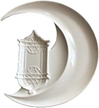 Moon Ramadan Ceramic Plate - Eid Dishware - 25 x 19 CM size white color - kitchen serving piece