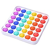 Atashojoe Push Pop Bubble Sensory Fidget Toy | Anxiety & Autism Special Needs Stress Reliever Toys for Kids, Teenagers, Students, Adults, Elderly - (Rainbow, Square)