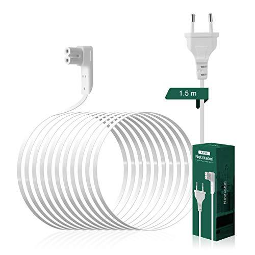 AIEVE 1,5m Netzkabel Stromkabel rechtwinkliges Kabel Zubehör für SONOS Play:1,One SL und SONOS ONE WLAN Lautsprecher (weiß,EU Stecker)