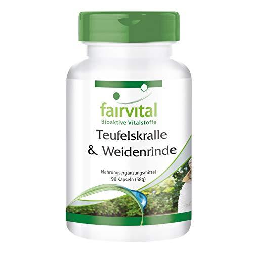 Teufelskralle und Weidenrinde Kapseln - HOCHDOSIERT - standardisiert auf 1,2% Harpagoside und 15% Salicin - Vegan - Harpagophytum procumbens & Salix Alba Extrakt - 90 Kapseln