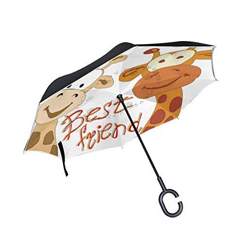 Reverse Umbrella, Giraffes Best Friends Inverted Umbrella Travel Umbrella,UV Protection Windproof Umbrella C-Shaped Handle Double Layer for Car Outdoor Use