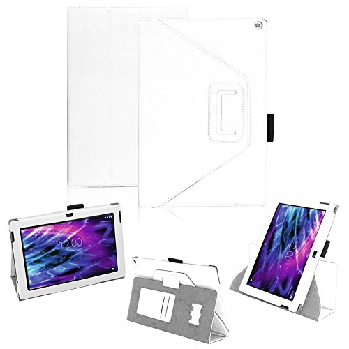 Medion Lifetab S10366 S10365 P10341 S10346 S10334 S10333 S10345 Tablet Hülle Schutzhülle passgenau praktische Standfunktion in 9 Farben Touch Pen Halterung aus hochwertige Verarbeitung, Farben:Weiss