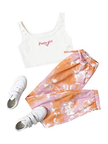 Romwe Girl's 2 Pieces Outfit Tie Dye Crop Tank...