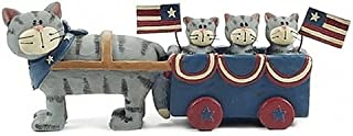 Blossom Bucket Patriotic Grey Tabby Cat Mom Pulling Kittens in Wagon Resin Figurine