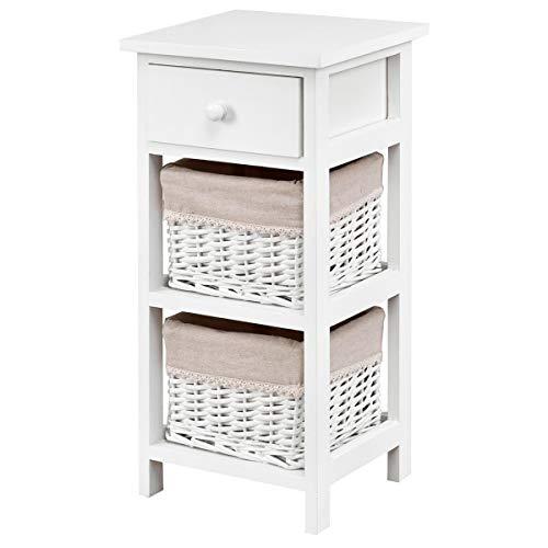 COSTWAY Nachttisch mit Schublade und 2 Aufbewahrungskörben, Beistelltisch Korbkommode, Schubladenregal für Schlafzimmer, Wohnzimmer 28x26x60cm