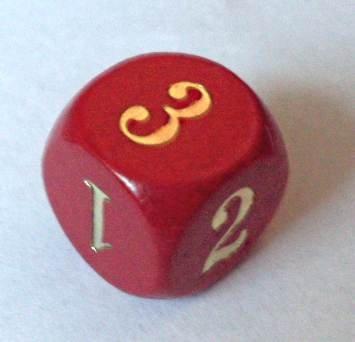 Holz-Zahlenwürfel, rot, Spezial-Würfel mit den Zahlen 1,2,3 / 1,2,3 (ohne die Zahlen vier bis sechs)