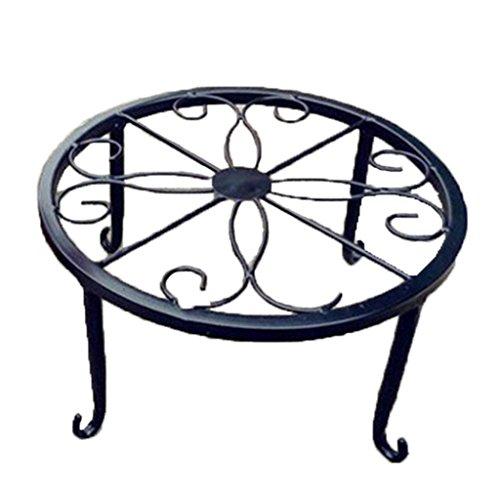 Pot de fleurs Beiguoxia - Support pour plantes - En fer - Rond - Pour décor de balcon, jardin et maison Taille unique Noir