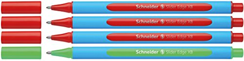 Schneider Slider Edge XB Lehrer Korrekturset (4er Set Kugelschreiber im Aufsteller, Strichbreite XB) rot, grün