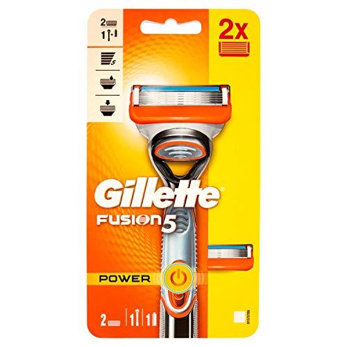 Gillette Fusion5 Power Rasoio Da Uomo 1 rasoio + 2 Lamette con5 Lame Antiattrito Per Una Rasatura Impercettibile