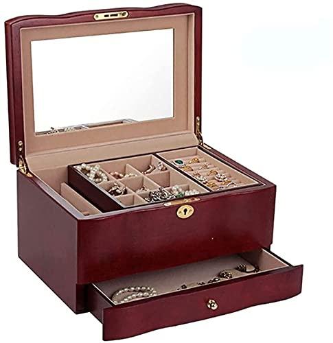 Schmuckkästchen aus Holz, tragbar, Retro-Schmuckkästchen mit 1 Schublade, eingebauter Spiegel, für Geschenke, Frauen und Mädchen
