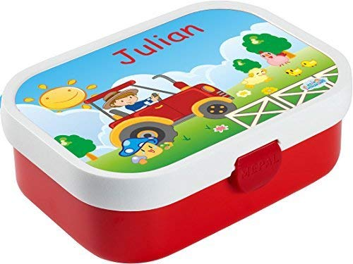 Mein Zwergenland Brotdose Mepal Campus mit Bento Box und Gabel mit eigenem Namen Traktor (rot)