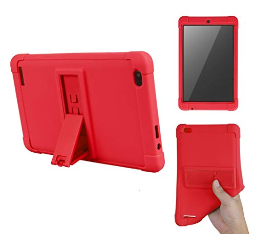 Onn Tablet Case 7 inch, [Kickstand] Shockproof Silicone Case Cover + PC Tablet Bracket Stand Case for Onn 7' Tablet (Red)