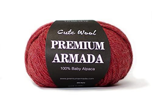 PREMIUMARMADA Lana de alpaca, 100 % lana de alpaca bebé, sin arañazos, súper suave, 50 g, lana de alpaca, bonito punto y ganchillo (rojo y naranja)