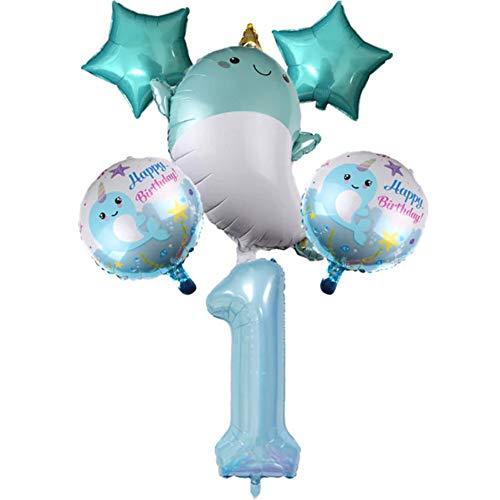 DIWULI, Juego de globos con forma de ballena, tamaño XXL, con número 1, color azul, de aluminio, para primer cumpleaños de niños y niñas, decoración, juego de globos, animales marinos