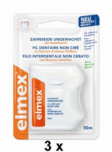 3 elmex Zahnseide je 50 m ungewachst Mint-Geschmack