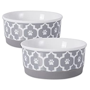 DII Bone Dry Lattice Ceramic Pet Bowl for Food & Water with Non-Skid Silicone Rim for Dogs and Cats (Small - 4.25  Dia x 2 H) Gray - Set of 2