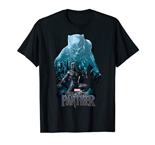 Marvel Black Panther Collage Silhouette Wakanda Fill T-Shirt