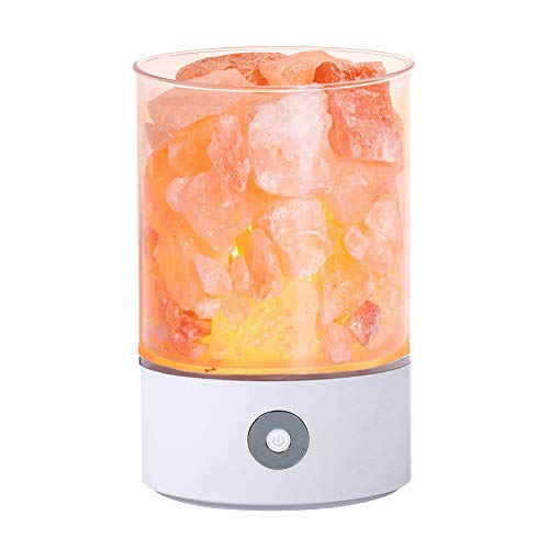 TOMNEW Lampe à sel naturelle de l'himalaya, lampe à roches cristallines à sel rose de l'himalaya, lampe de nuit à sel de lave de petite mine saine, pour chambres à couchettes et bureaux