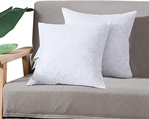 DOWNCOOL 100% Cotton Stuffer Throw Pillow Insert Set of 2, Square Down and Feather Filled Decorative Bed Sofa Insert, 16x16 Inch, White