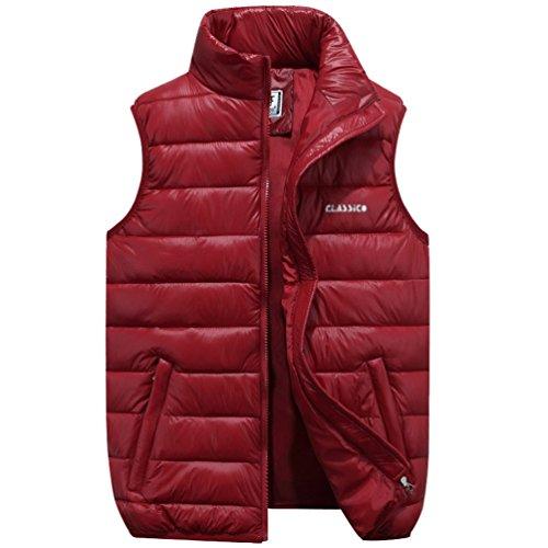NiSeng Hombre Chaqueta de Pluma Sin Mangas Chalecos Planicie Ligero Cálido Abrigo de Invierno Rojo 4XL