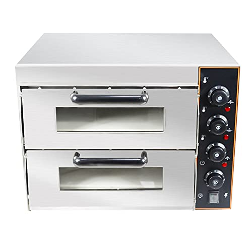 HOMIER Horno de cocción comercial de doble cubierta 2 x 16 pulgadas horno eléctrico de pizza trifásico para la cocina casera 3KW